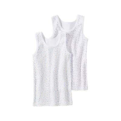 Mädchen-Unterhemd mit bunten Punkten, 2er Pack