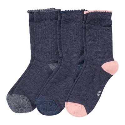 Damen-Socken mit Kontrast-Effekten, 3er Pack