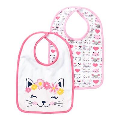 Baby-Mädchen-Lätzchen mit Katzen-Aufdruck, 2er Pack