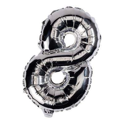 Ballon aus Silberfolie Nr. 8, ca. 33cm