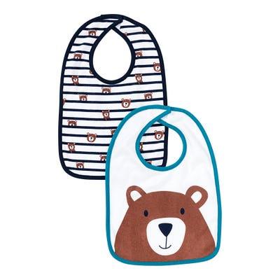 Baby-Jungen-Lätzchen mit Bären-Aufdruck, 2er Pack