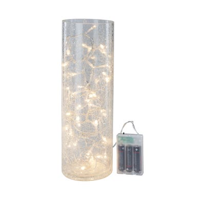 LED-Glas-Zylinder in gebrochener Optik, Ø ca. 10cm