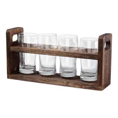 Bier-Tasting-Board mit Holzständer, ca. 22x8x17cm