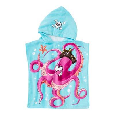 Jungen-Poncho mit Oktopus-Aufdruck