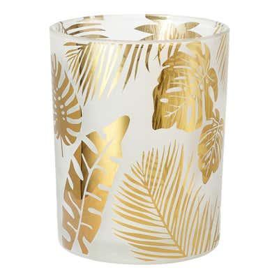 Kerzenglas mit sommerlichen Palmblättern, ca. 10x12,5cm