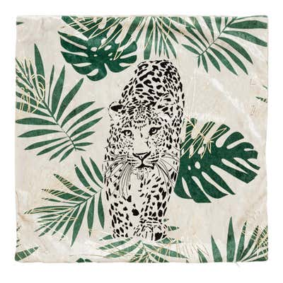 Kissenhülle mit Leoparden-Motiv, ca. 40x40cm