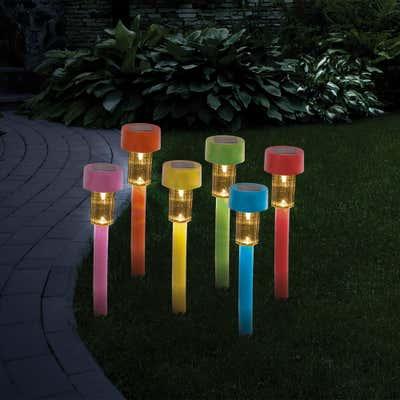 Solar-Gartenstecker-Set mit verschiedenen Farben, ca. 31cm, 6-teilig