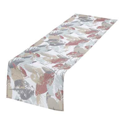 Tischläufer mit hübschem Blättermotiv, ca. 40x140cm