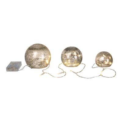 LED-Glas-Kugel-Set mit praktischer Timerfunktion, 3er Set