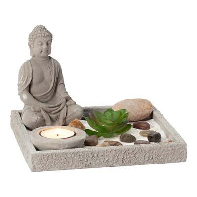 Zen-Garten mit Buddha-Figur, 6-teilig