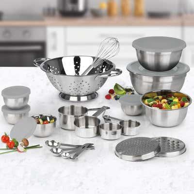 All-in-one-Küchenset aus Edelstahl, 27-teilig