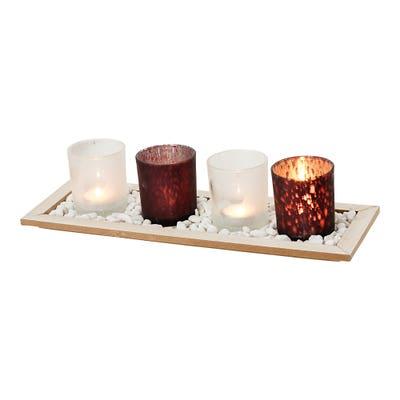 Kerzengläser auf Tablett, 6-teilig, ca. 40x15x8cm