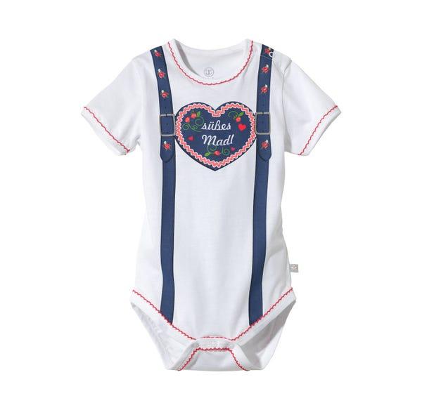 Baby-Mädchen-Trachten-Body mit Herz-Aufdruck