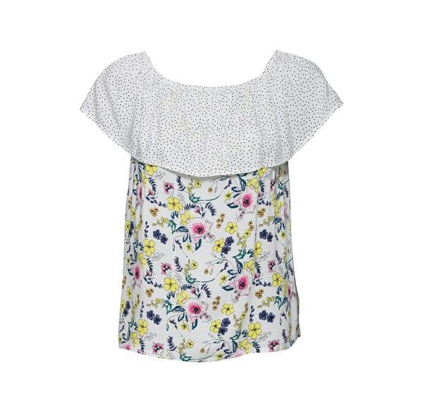 Damen-T-Shirt mit elastischem Carmen-Ausschnit