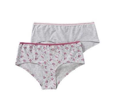 Damen-Panty mit verziertem Bund, 2er Pack