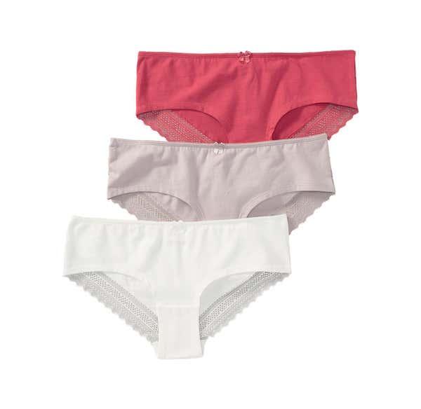 Damen-Hipster-Panty mit sexy Spitze, 3er Pack