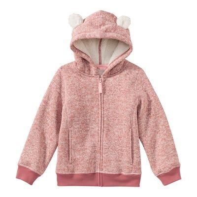 Mädchen-Strickfleece-Jacke mit Kapuze