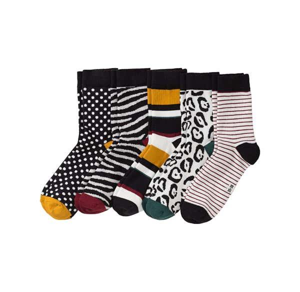 Damen-Socken mit verschiedenen Mustern, 5er Pack
