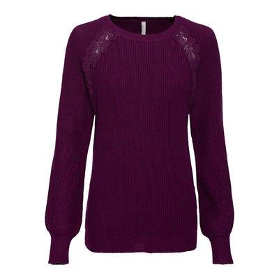 Damen-Pullover mit Spitzenverzierung