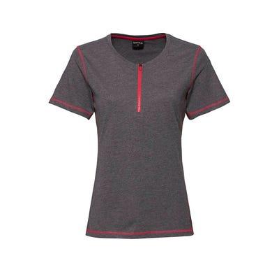 Damen-Fitness-T-Shirt mit kleinem Reißverschluss