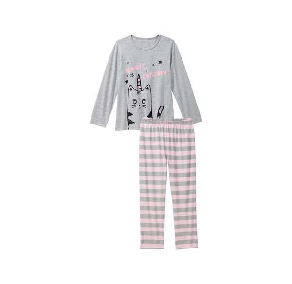 Mädchen-Schlafanzug mit Katzen-Einhorn, 2-teilig