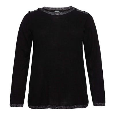 Damen-Pullover mit Samtknöpfen, große Größen