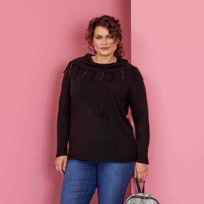 Damen-Pullover mit glitzernden Zierfransen, große Größen