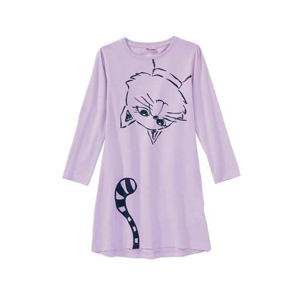 Mädchen-Nachthemd mit Katzen-Aufdruck