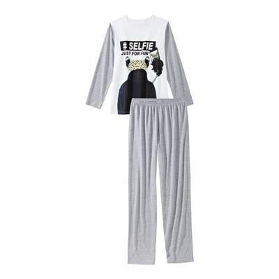 Jungen-Schlafanzug mit Selfie-Frontaufdruck, 2-teilig
