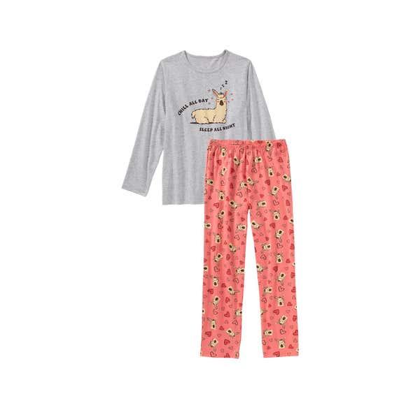 Mädchen-Schlafanzug mit Lama-Frontaufdruck, 2-teilig