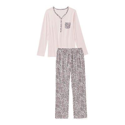 Damen-Schlafanzug mit Leo-Muster, 2-teilig