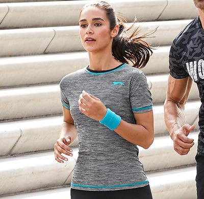 Damen-Fitness-T-Shirt in angesagter Melange-Optik