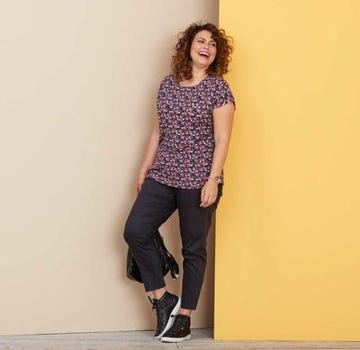 Damen-Stoffhose mit elastischem Bund, große Größen