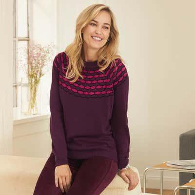 Damen-Pullover mit metallischen Fasern