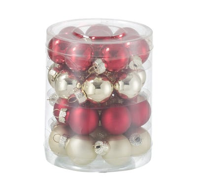 Mini-Glaskugeln in verschiedenen Farben, Ø ca. 25mm, 32-teilig