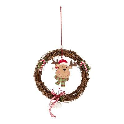 Rattankranz mit verschiedenen Weihnachtsmotiven, Ø ca. 15cm