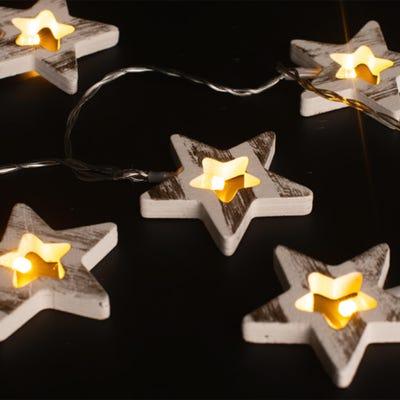 LED-Lichterkette mit Holzdekoration, ca. 165cm