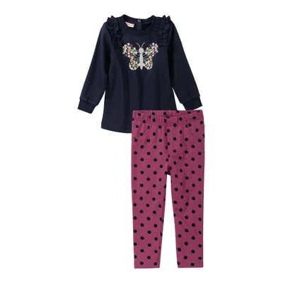 Baby-Mädchen-Set mit Schmetterlings-Frontaufdruck, 2-teilig