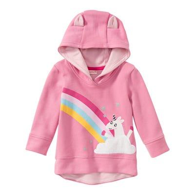 Baby-Mädchen-Sweatshirt mit Einhorn-Frontaufdruck