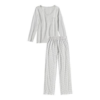 Damen-Schlafanzug mit Katzen-Muster, 2-teilig