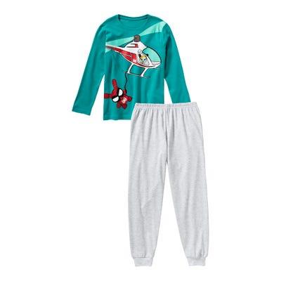 Jungen-Schlafanzug mit Helikopter-Frontaufdruck, 2-teilig