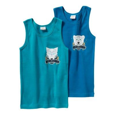 Jungen-Unterhemd mit Polar-Tier, 2er Pack