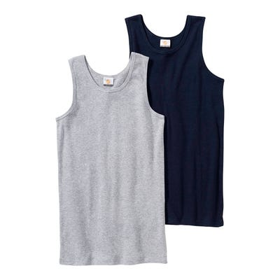 Jungen-Unterhemd in Melange-Optik, 2er Pack