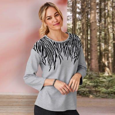 Damen-Pullover mit schönem Flockprint