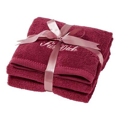 Handtuch mit schöner Stickerei, ca. 50x100cm, 2er Pack