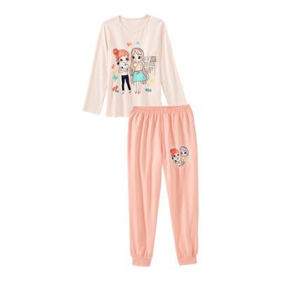 Mädchen-Schlafanzug mit Freundinnen-Frontaufdruck, 2-teilig