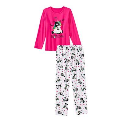 Mädchen-Schlafanzug mit Fledermaus-Einhorn, 2-teilig