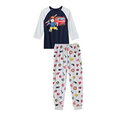 Jungen-Schlafanzug mit Feuerwehr-Frontaufdruck, 2-teilig