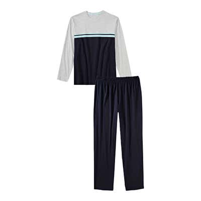 Herren-Schlafanzug mit Kontrast-Design, 2-teilig