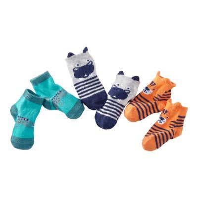 Baby-Jungen-Sneakersocken mit süßen Plüschapplikationen, 3er Pack